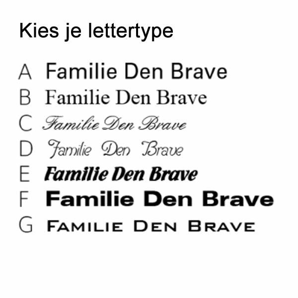 Emaille huisnummer met naam lettertypes