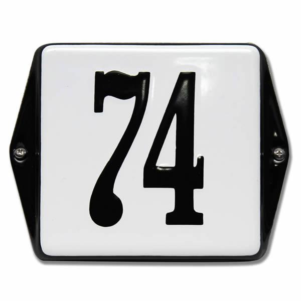 Emaille huisnummer met oor wit (13x10 cm)