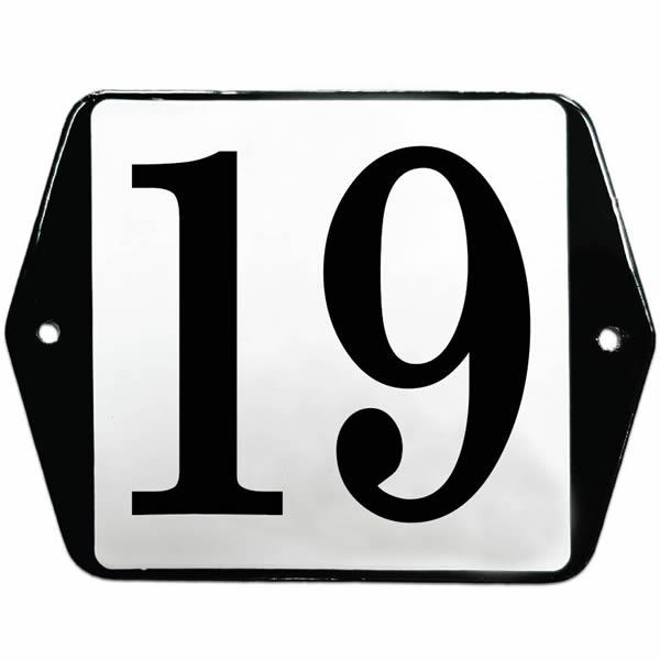Emaille huisnummer standaard oor wit (13x10 cm)