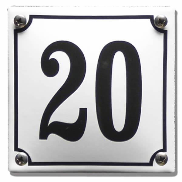 Emaille huisnummer standaard wit (10x10 cm)