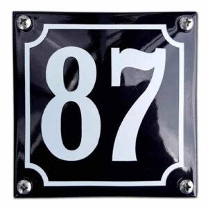 Emaille huisnummer standaard zwart (10x10 cm)