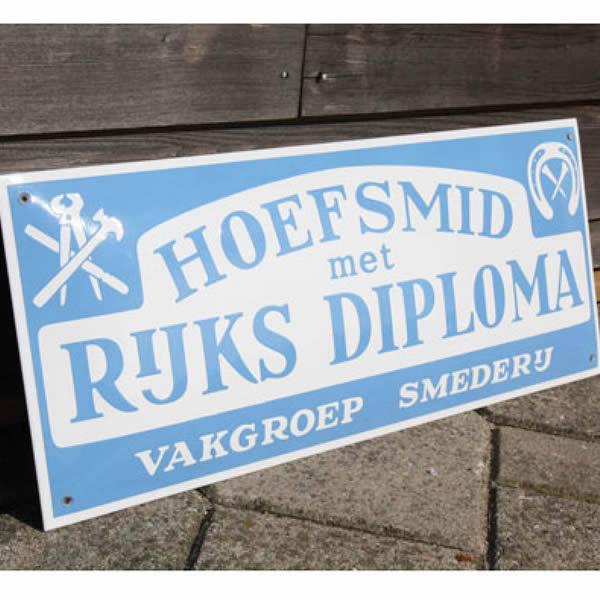 Emaille ambachtsbord Hoefsmid (60x25 cm)