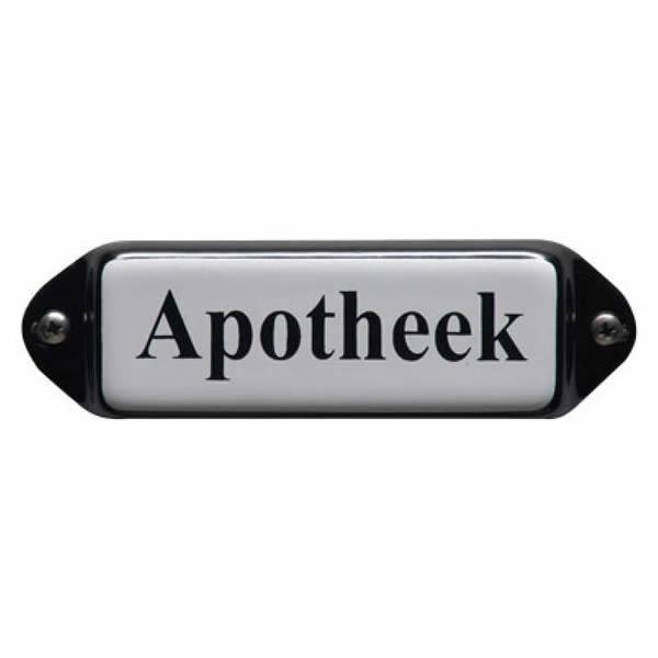 Emaille deurbordje met oor Apotheek