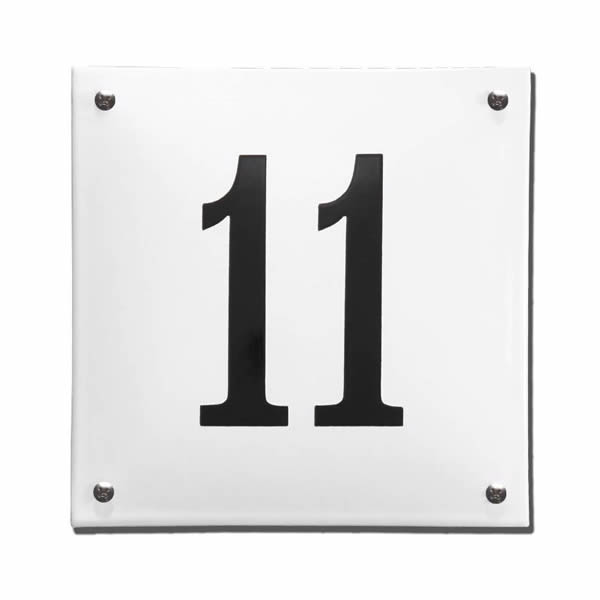Emaille huisnummer gebold (16x16 cm)