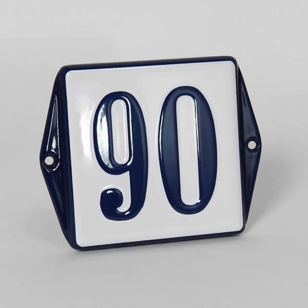 Emaille huisnummer met oor (13x10 cm)