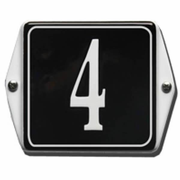 Emaille huisnummer met oor kader (13x10 cm)