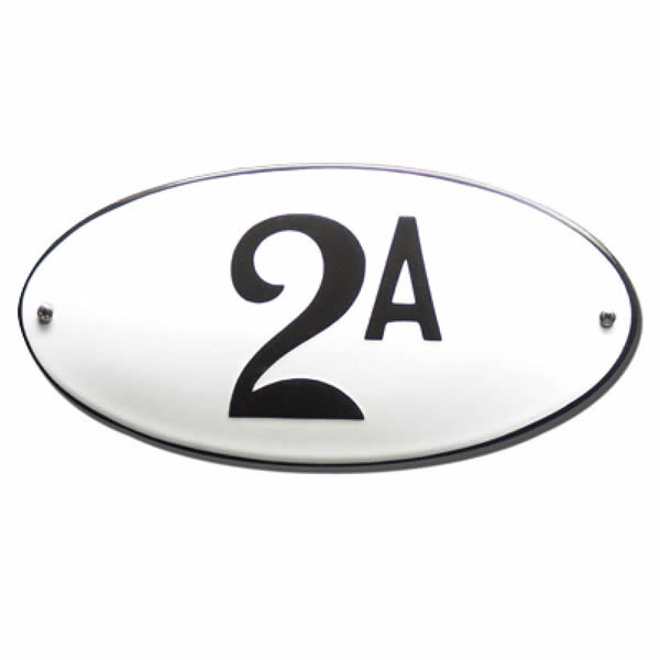 Emaille huisnummer ovaal met rand (10x5 cm)