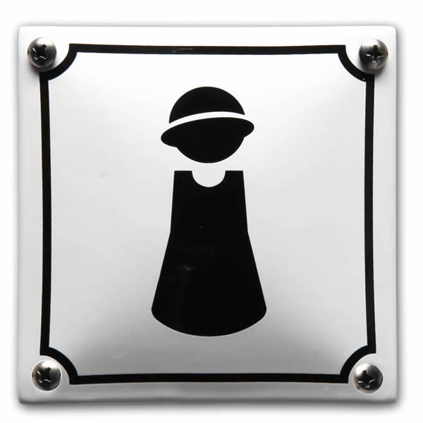 Emaille toiletbord Dames (10x10 cm)