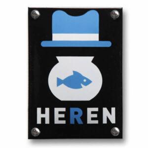 Emaille toiletbord Heren (10x14 cm)