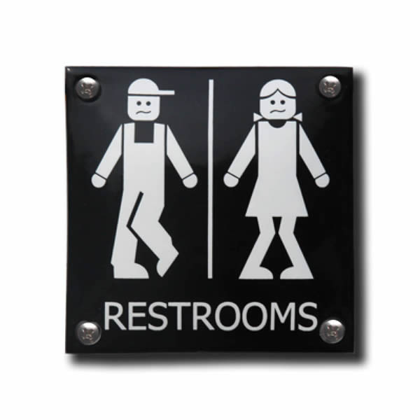 Emaille toiletbord Restrooms (10x10 cm)