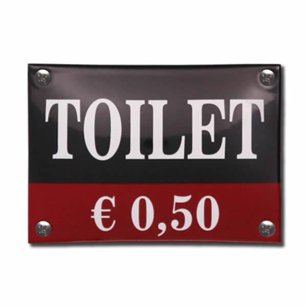 Emaille toiletbord Toilet 0,50 (14x10 cm)