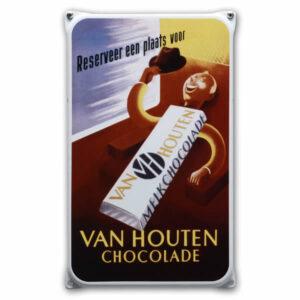 Emaille wandreclame Van Houten (20x33 cm)