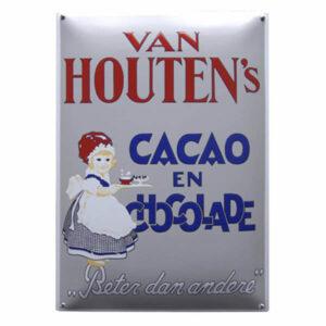Emaille wandreclame Van Houten (35x50 cm)