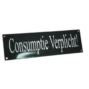 Emaille horecabord Consumptie verplicht (40x12 cm)