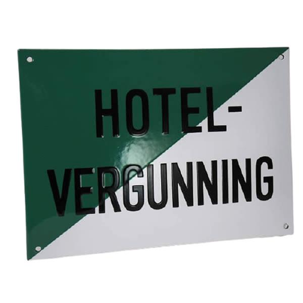 Emaille horecabord Hotel Vergunning (32x23 cm)