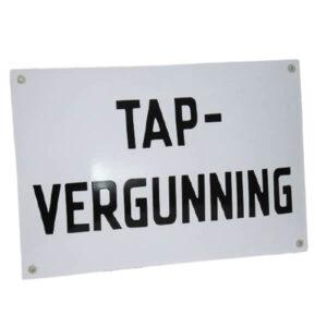 Emaille horecabord Tapvergunning (30x20 cm)