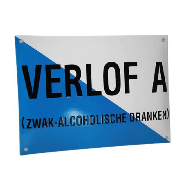 Emaille horecabord Verlof A (32x23 cm)