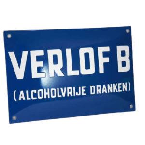 Emaille horecabord Verlof B (30x20 cm)