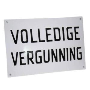 Emaille horecabord Volledige vergunning (30x20 cm)