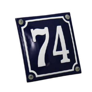Emaille huisnummer gebold kader blauw (10x10 cm)
