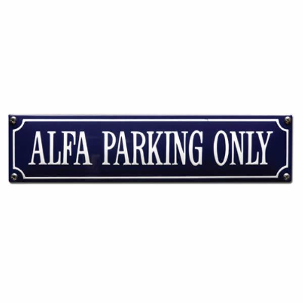 Straatnaambord emaille Alfa (33x8 cm)