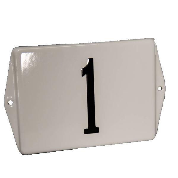 Emaille huisnummer standaard met oor (19x12 cm)
