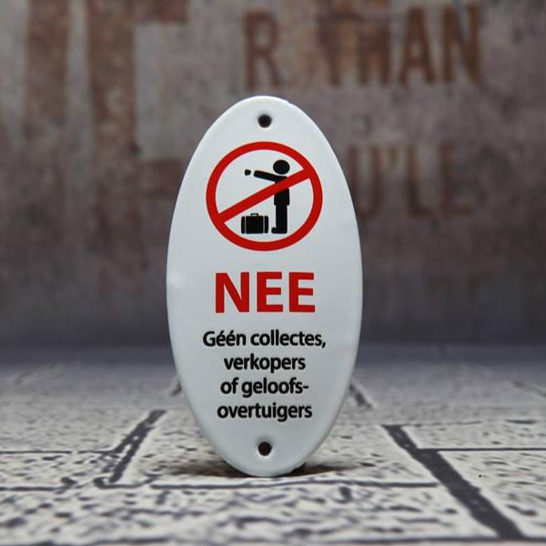 Emaille bordje Geen Collectes en verkopers