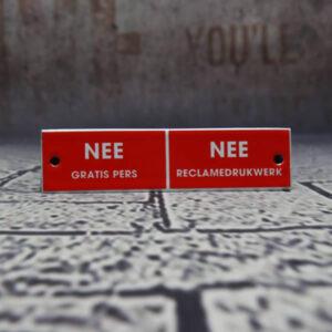 Emaille brievenbordje Nee Nee Belgie