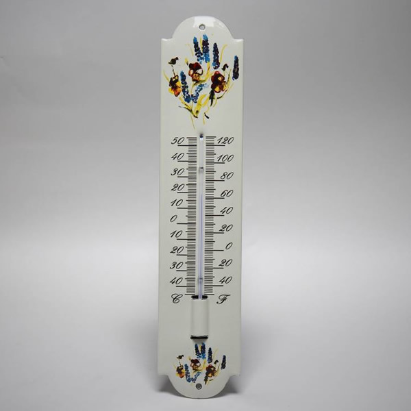 Emaille thermometer bloemen 3
