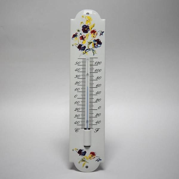 Emaille thermometer klein Bloemen