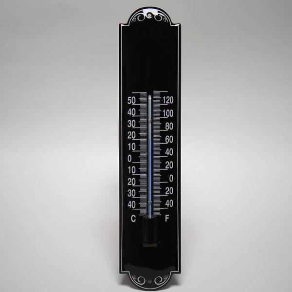 Emaille thermometer zwart klein