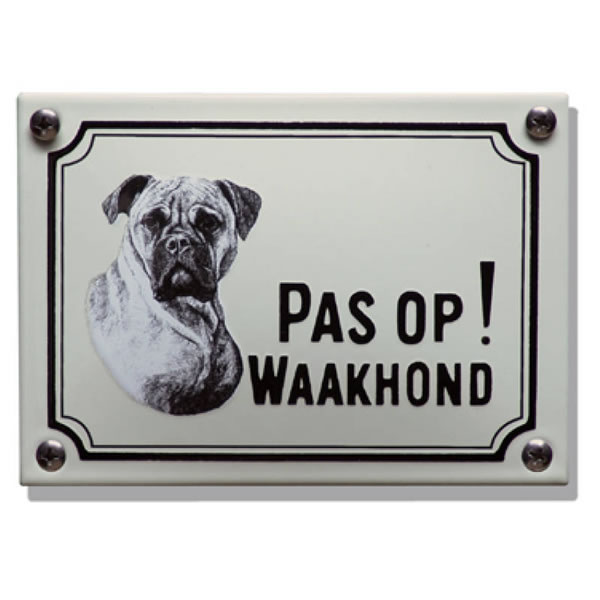 Emaille waakhond bord Boxer (14x10 cm)