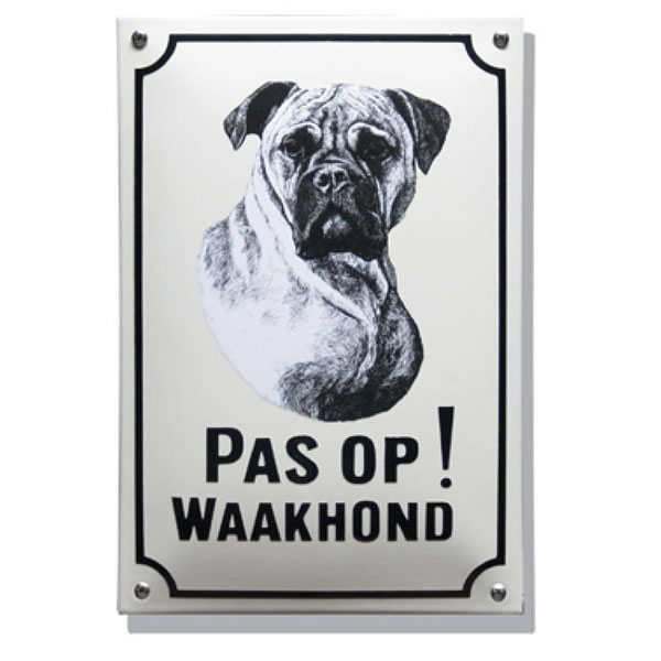 Emaille waakhond bord Boxer (20x30 cm)