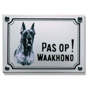 Emaille waakhond bord Deense Dog (14x10 cm)