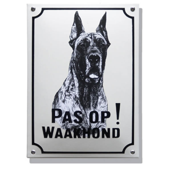 Emaille waakhond bord Deense Dog (20x30 cm)