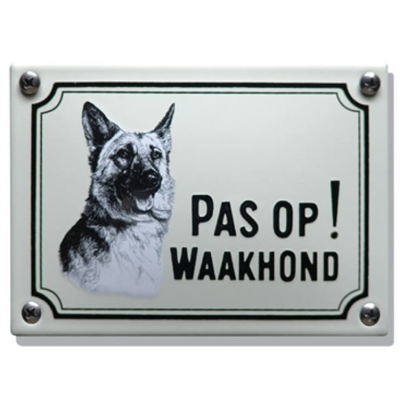 Emaille waakhond bord Herdershond (14x10 cm)