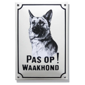 Emaille waakhond bord Herdershond (20x30 cm)