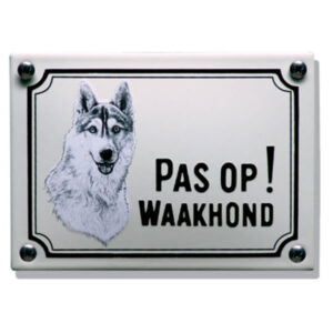Emaille waakhond bord Husky (14x10 cm)