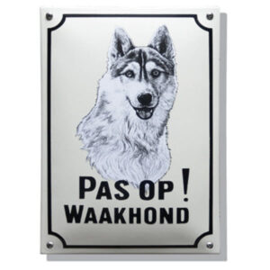 Emaille waakhond bord Husky (20x30 cm)