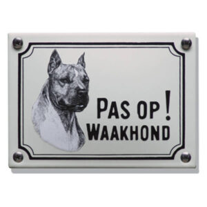 Emaille waakhond bord Stafford Terriër (14x10 cm)