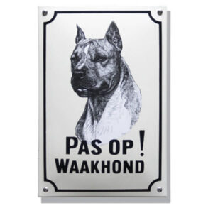 Emaille waakhond bord Stafford Terriër (20x30 cm)