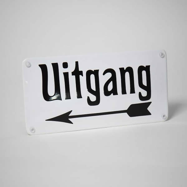 Emaille bord Uitgang links (20x10 cm)