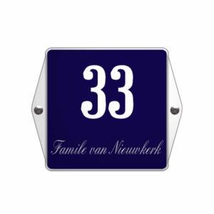 Emaille huisnummer met naam model oor blauw (15x12 cm)