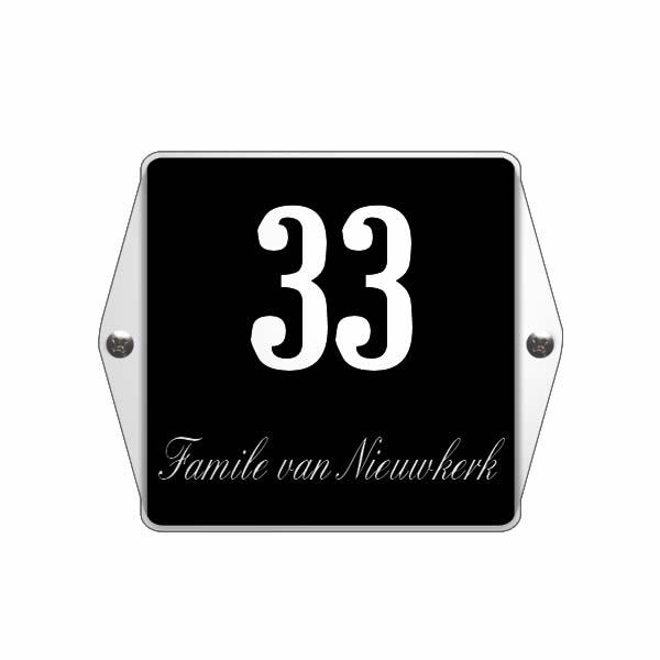 Emaille huisnummer met naam model oor zwart (15x12 cm)