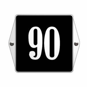Emaille huisnummer met oor Zwart/Wit (13x10 cm)