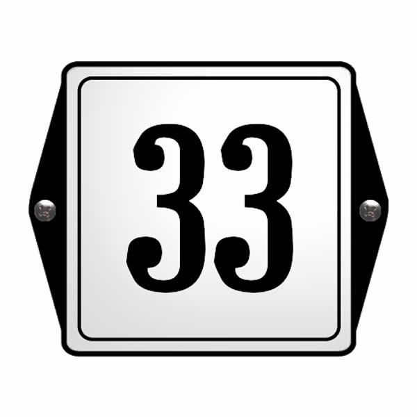 Emaille huisnummer met oor kader Wit/Zwart (13x10 cm)