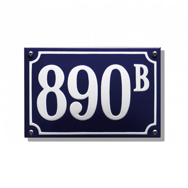 Emaille huisnummer gebold kader (15x10 cm)