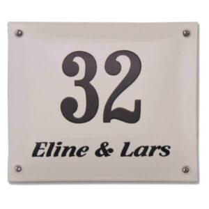 Emaille huisnummer met naam (14x10 cm)