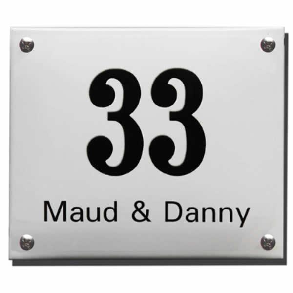 Emaille huisnummer met naam (30x20 cm)