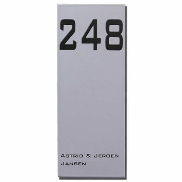 Emaille huisnummer met naam Modern (10x26 cm)